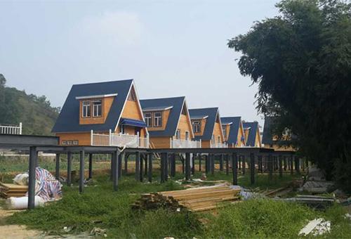 巽寮湾景区钢木结构阁楼安装设计